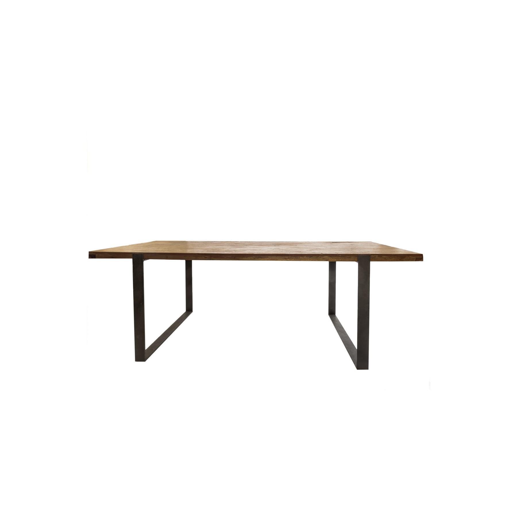 Mesa viga madera maciza de teca con patas en hierro fundido - Patas de mesa de madera ...